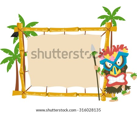 Illustration of a Man Wearing a Tiki Mask Standing Beside a Wooden Banner - stock vector