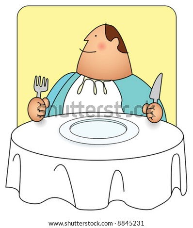 Illustration of a man with a big grin and a big appetite. you can re-color to your preference using vector program.