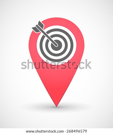 Illustration of a map mark icon with a dart board - stock vector