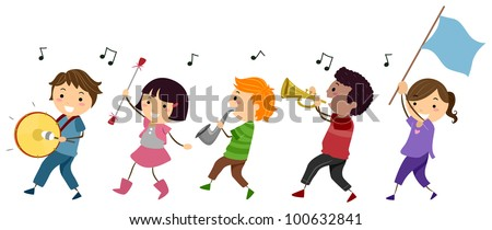 Illustration of a Marching Band Composed of Kids - stock vector