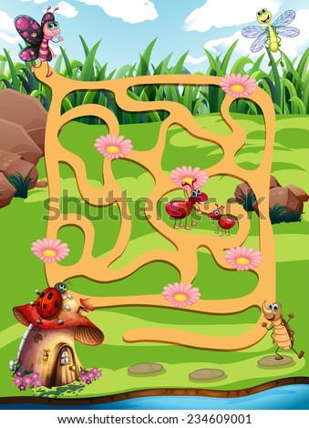 Illustration of a maze game with insects background