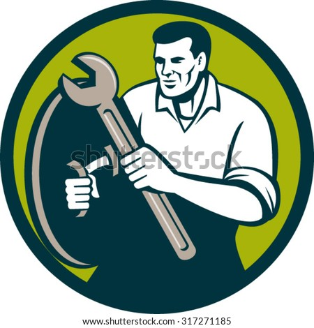 Illustration of a mechanic brandishing spanner wrench looking to the side viewed from front set inside circle on isolated background done in retro style.  - stock vector