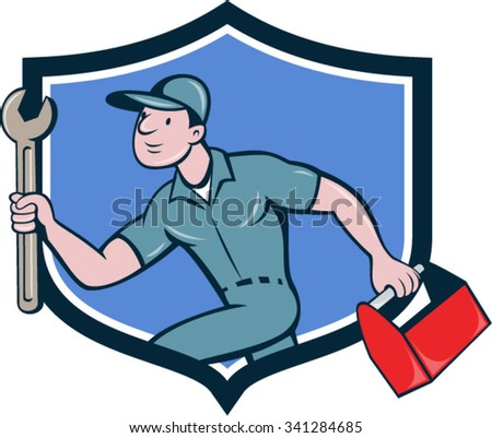 Illustration of a mechanic carrying spanner wrench and toolbox running viewed from the side set inside shield crest on isolated background done in cartoon style. - stock vector