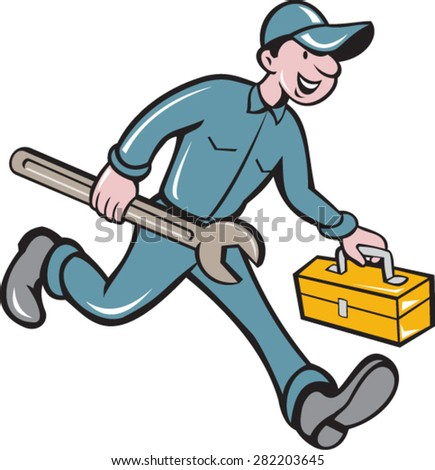Illustration of a mechanic carrying spanner wrench andtoolbox running viewed from the side set on isolated white background done in cartoon style. - stock vector