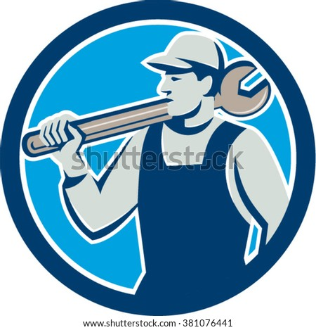 Illustration of a mechanic holding spanner on shoulder looking to the side set inside circle on isolated background done in retro style.  - stock vector