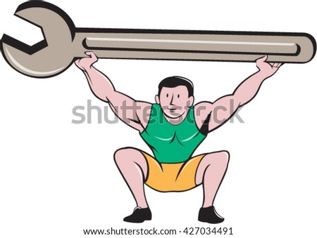 Illustration of a mechanic lifting giant spanner wrench over head and knees bent viewed from front set on isolated white background done in cartoon style.  - stock vector