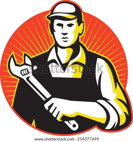 Illustration of a mechanic repairman worker tradesman holding an adjustable wrench spanner set inside circle done in retro style. - stock vector