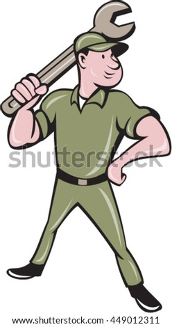 Illustration of a mechanic standing wielding holding spanner wrench looking to the side viewed from front set on isolated white background done in cartoon style.  - stock vector