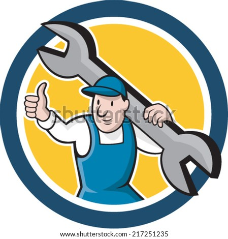 Illustration of a mechanic thumbs up holding spanner wrench on shoulder set inside circle on isolated background done in cartoon style.