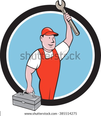 Illustration of a mechanic wearing hat and overalls lifting raising up spanner wrench holding toolbox looking to the side viewed from front set inside circle on isolated background in cartoon style.  - stock vector