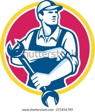 Illustration of a mechanic wearing hat holding spanner wrench rolling sleeve looking to the side set inside circle on isolated background done in retro style. - stock vector