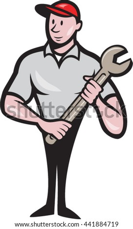 Illustration of a mechanic worker standing looking to the side carrying spanner viewed from front set on isolated white background done in cartoon style.  - stock vector