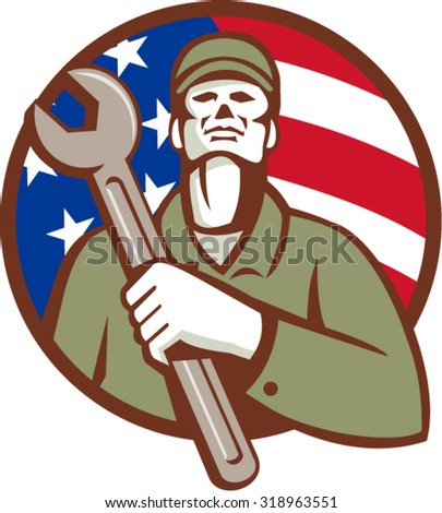 Illustration of a mechanic worker wearing hat holding wrench on chest looking up set inside circle with american usa flag stars and stripes in the background done in retro style.  - stock vector