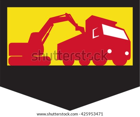 Illustration of a mechanical digger excavator earthmover loading a dump truck viewed from low angle set inside shield crest done in retro style,