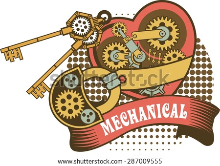 illustration of a mechanical heart closed on the lock and a number of keys hanging of a variety of metal parts Steam punk - stock vector