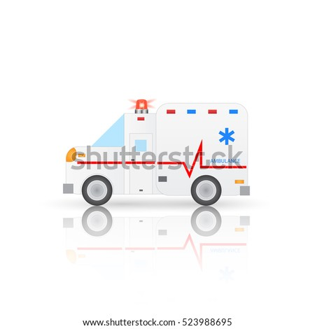 Illustration of a medical ambulance isolated on a white background.
