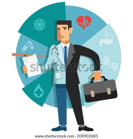 illustration of a medical business. Duality. half doctor half businessman - stock vector