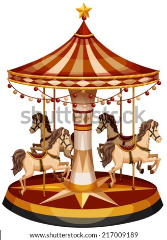 Illustration of a merry-go-round with brown horses on a white background - stock vector