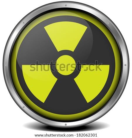 illustration of a metal framed radiation icon, eps10 vector - stock vector