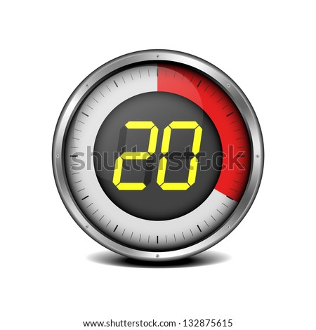 illustration of a metal framed timer with the number 20, eps10 vector - stock vector