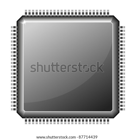 illustration of a microchip cpu isolated on white background - stock vector