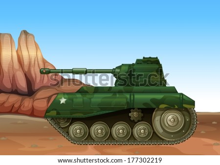 Illustration of a military fighter tank - stock vector
