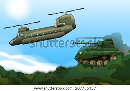 Illustration of a military tank and a helicopter - stock vector