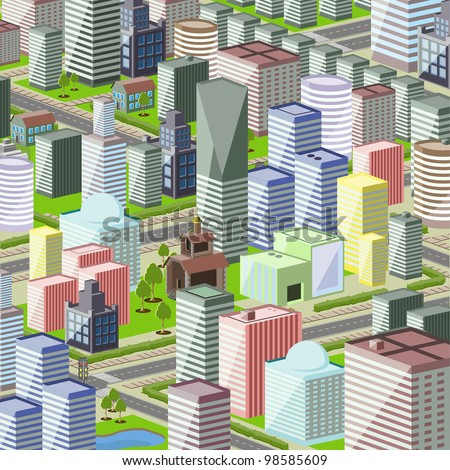 illustration of a modern city with high buildings - stock vector