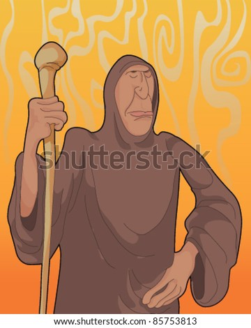 Illustration of a Monk - stock vector
