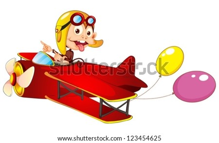 Illustration of a monkey in airplane on a white background - stock vector
