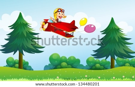 Illustration of a monkey riding in an aircarft with two balloons