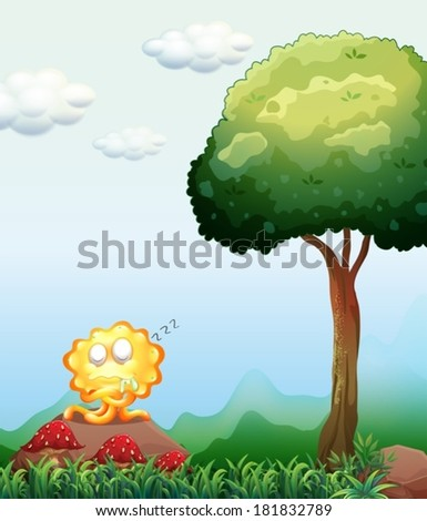 of a monster sleeping above the rock near the tree - stock vector