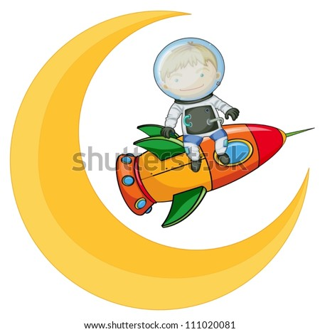 illustration of a moon and boy on rocket - stock vector
