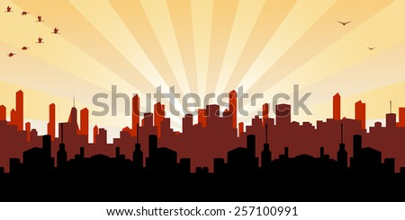Illustration of a morning and evening view of cityscape  - stock vector