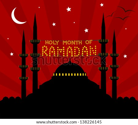Illustration of a mosque with a text celebrating the islamic holy month Ramadan - stock vector