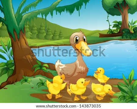 Illustration of a mother duck with her ducklings - stock vector