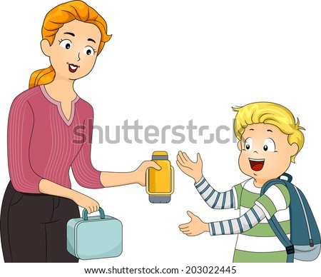 Illustration of a Mother Giving Her Son His Packed Lunch - stock vector