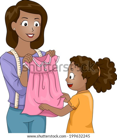 Illustration of a Mother Presenting a Dress She Has Sewn Herself to Her Daughter