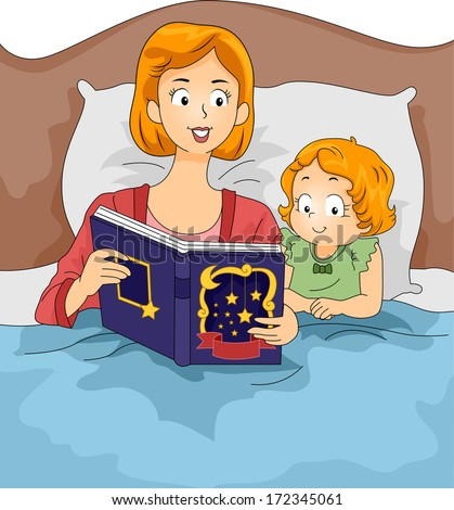 Illustration of a Mother Reading a Bedtime Story to Her Daughter  - stock vector