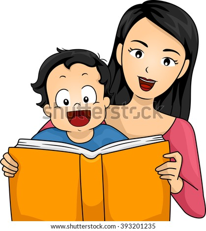 Illustration of a Mother Reading a Book to Her Son - stock vector
