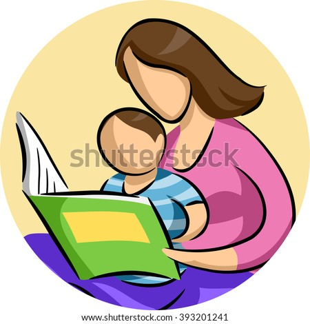Illustration of a Mother Reading a Storybook to Her Son - stock vector