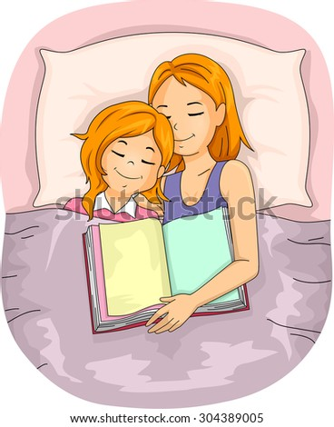 Illustration of a Mother Who Fell Asleep After Reading a Book to Her Daughter - stock vector