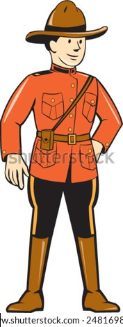 Illustration of a mounted policeman police officer standing facing front on isolated background done in cartoon style. - stock vector