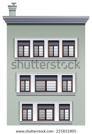 Illustration of a multi-story building on a white background  - stock vector