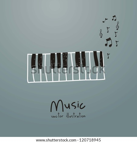 Illustration of a music icon, with  piano and musical notes, vector illustration - stock vector