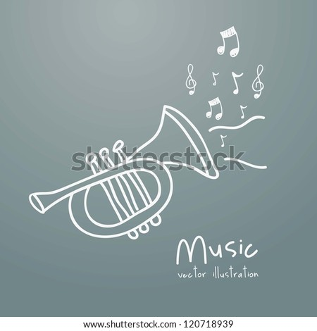 Illustration of a music icon, with trumpet and musical notes, vector illustration - stock vector