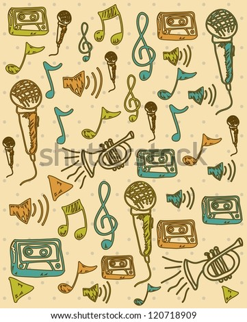 Illustration of a music icon, with trumpet, microphone, cassette, piano, guitar, musical notes, vector illustration - stock vector