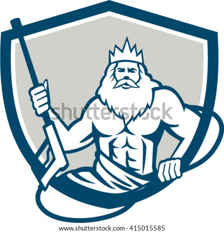 Illustration of a Neptune, roman god of sea holding pressure power washer water blaster viewed from front set inside shield crest on isolated background done in retro style. - stock vector
