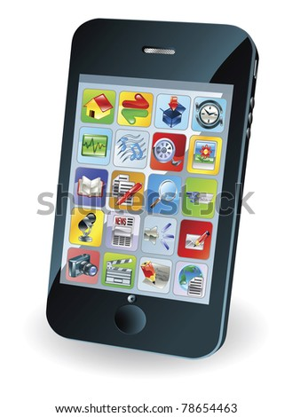 Illustration of a new smart mobile phone - stock vector