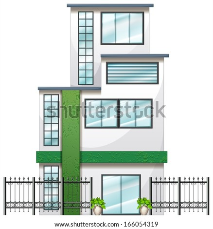 Illustration of a newly built tall building on a white background - stock vector